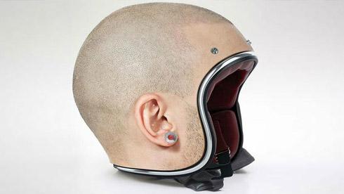 摩托车头皮头盔 令人毛骨悚然的人皮面具