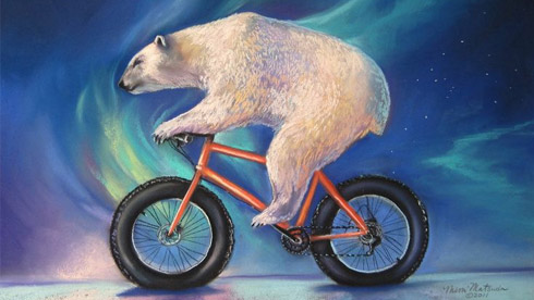 画家用动物和自行车作画 号召人们保护野生动物